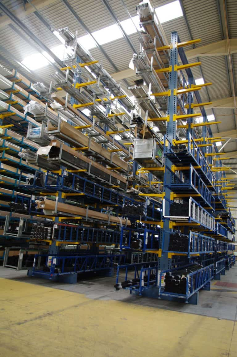 Cantilever racking for the safe storage of extrusions for the windows and conservatories industry